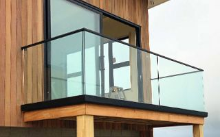 Glass railing for balcony and deck