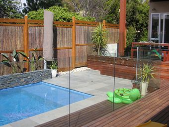 pool glass fence and rails